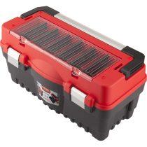 Extol Premium szerszámosláda, műanyag 547×271×278mm, fémcsatos, tálcával, lakatolható, ALU nyél