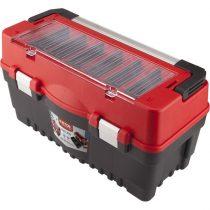 EXTOL PRÉMIUM szerszámosláda, műanyag 595×289×328mm, fémcsatos, tálcával, lakatolható, ALU nyél
