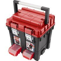 EXTOL PRÉMIUM szerszámosláda profi erős, műanyag 440×350×440mm, fémcsatos, tálcával, lakatolható, ALU nyél