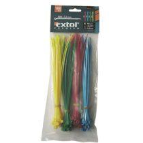 Extol Premium kábelkötegelő 2,5×150mm 100db, 4 színű (piros, kék, sárga, zöld), nylon; |8856194|