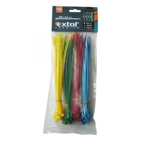 Extol Premium kábelkötegelő 3,6×200mm 100db, 4 színű (piros, kék, sárga, zöld), nylon; |8856196|
