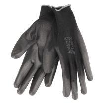 Extol Premium Kötött kesztyű fekete poliészter, méret:  9' poliuretánba mártott teny. és ujjhegy., gumírozott mandzsetta