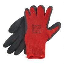 Extol Premium kötött kesztyű, pamut, vörös, méret: 10',  latexbe mártott, csúszásgátló tenyér |8856642|