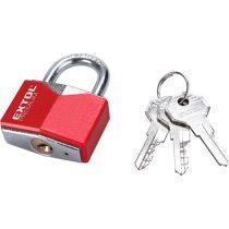 Extol Premium lakat, vas, rombusz alakú, műanyag borítás, 3db kulcs; 30mm, edzett acél kengyel, szárátmérő: 5,2 mm