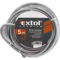 Extol Premium lefolyócső tisztító, 15m, 9mm átmérő,  kézi tekerővel, tisztító körömmel,  (1,9mm drótból sodorva)