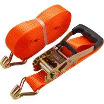 EXTOL PRÉMIUM rakományrögzítő gurtni, kampós, max. 4000kg; 10m×50mm, EN12195-2,TÜV/GS