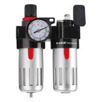 """EXTOL PRÉMIUM levegőelőkészítő (légszűrő nyomásszabályozóval, olajozóval ésmanométerrel),max.8Bar,1/4"""",max.60°C,90ml szűrő&90mlolajzó"""