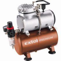 EXTOL PRÉMIUM olajmentes légkompresszor, 230V/150W, 6 bar, 23 l/perc, 3l tank, airbrush festéshez is használható
