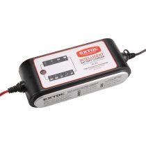 Extol Craft akkutöltő, autós, mikroprocesszoros, intelligens, 8 Amp, 4-160Ah, DC 12V