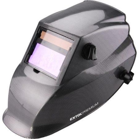 Extol Premium hegesztőpajzs, automatikus, önsötétedő, állítható érzékenység+sötétítés, carbon design  8898027 