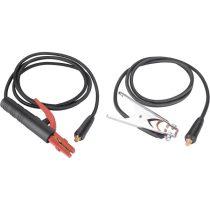 Extol Premium hegesztő kábelpár, földelőkábel csipesszel + munkakábel elektródafogóval, 120A, 3m, 16mm2, csatlakozó: 10-25