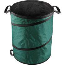 Extol Craft kerti levélgyűjtő/tároló zsák, henger alakú, acélrugós/önfelnyíló, 55×72cm, 170L, zöld, 3 fogantyú, PES (poliészter)