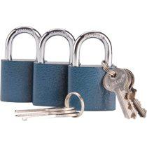 Extol Craft biztonsági réz lakat klt., 38mm, 3 db lakat+6 db kulcs, univerzális kulcsok: egy kulcs jó mindhárom lakathoz