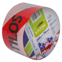 """EXTOL jelölő szalag, piros-fehér; 75mm×250m, polietilén """"BELÉPNI TILOS"""" felirattal, (kordonszalag)"""