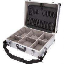 EXTOL szerszámostáska (koffer) alumínium 460×330×155 mm, ezüst színű, hordszíjjal