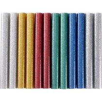 Extol Craft ragasztóstift klt., csillogó többszínű; 12db, 100×11mm, bliszteren