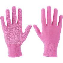 Extol Lady kötött kesztyű, rózsaszín, PE, fehér PVC pöttyökkel, méret: 7', Extol Lady