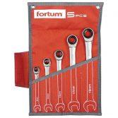 Fortum racsnis csillag-villás kulcs klt. 5db, 61CrV5/S2, mattkróm; 8-10-13-17-19mm, 72 fog, műanyag tartó + vászon tok FORTUM |4720102|