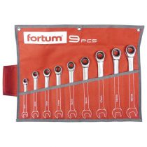 Fortum racsnis csillag-villás kulcs klt. 9db, 61CrV5/S2, mattkróm; 8-10-12-13-14-16-17-18-19mm, 72 fog, műanyag tartó + vászon |4720104|