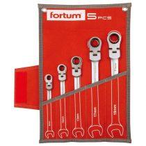 Fortum csuklós racsnis csillag-villás kulcs klt. 5db, mattkróm; 8-10-13-17-19mm, 72 fog, műanyag tartó+vászon tok FORTUM |4720201|
