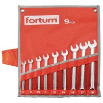 Fortum csillag-villás kulcs klt. 9db, 6-19mm 61CrV5, mattkróm, vászon tok FORTUM |4730202|