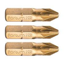 Fortum behajtóhegy PZ, 3 db, S2 acél, Titanium bevonat; PZ 2×25mm, bliszteren