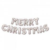 """Family 3D Karácsonyi """"Merry Christmas"""" lufi - ezüst"""