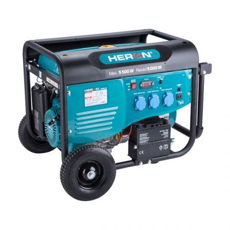 Heron benzinmotoros áramfejlesztő, max 5500 VA, egyfázisú, elektromos önindítóval  8896415 
