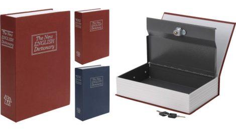 Könyv alakú széf, 2db kulccsal (23 x 16 x 6 cm, piros)