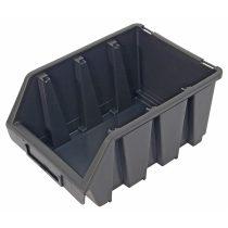 tároló doboz, ergobox; 3, közepes, 170×240×125mm, műanyag, fekete  3385067 