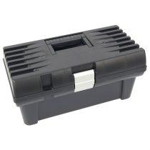 """Szerszámosláda, műanyag, alucsatos, tálcával, fekete, lakatolható; 16"""", 415×220×200mm"""