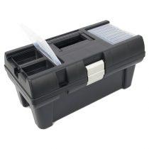 """Szerszámosláda, műanyag, alucsatos, tálcával, fekete, lakatolható; 16"""", 415×220×200mm, rendező felül"""