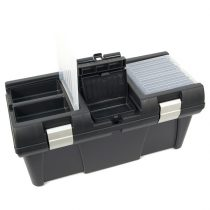 """Szerszámosláda, műanyag, alucsatos, tálcával, fekete, lakatolható; 20"""", 525×255×245mm, rendező felül"""