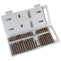"""bit klt., műanyag dobozban; CV., 40db-os, hatlap(H4-H12), XZN(Spline, TT5-TT12) és TORX (T20-T55), adapter 3/8"""" és 1/2"""""""