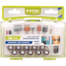 EXTOL mini köszörű-, csiszoló- és polírozófej tartozék klt., 36 db, tengelycsap: 3,2mm; műanyag dobozban