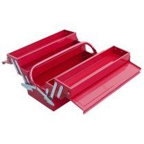 Szerszámosláda fém 40×20×20cm, 5 rekesz, festett lemez, piros, lakatolható