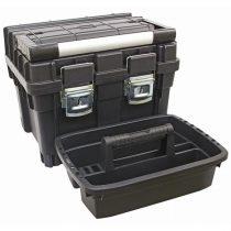 Szerszámosláda profi erős, műanyag 440×345×355mm, fémcsatos, tálcával, fekete, lakatolható, ALU nyél