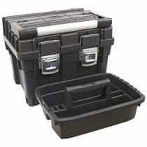 szerszámosláda profi erős, műanyag 440×345×355mm, fémcsatos, tálcával, fekete, lakatolható, ALU nyél  84874 