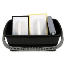 burkoló vödör, 10 literes, műanyag, szögletes (44×24×17cm), 1 görgös, fugázó simító, szivacsos simító