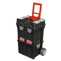 szerszámosláda kerekes, profi erős, műanyag 495×350×712mm, fémcsatos, tálcával, fekete, lakatolható