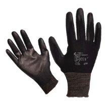 Kötött kesztyű fekete nylon, M-es méret 8',  poliuretánba mártott teny. és ujjhegy., gumírozott mandzset