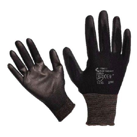 Kötött kesztyű fekete nylon, XL-es méret, 10' poliuretánba mártott teny. és ujjhegy., gumírozott mandzse |865108|