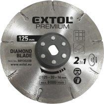 EXTOL PRÉMIUM gyémántvágó korong 125×20mm, 2az1ben Twin Blade rendszer, kőhöz és csempéhez, 8893020 vágógéphez