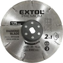 Extol Premium gyémántvágó korong 125×20mm,  2az1ben Twin Blade rendszer, kőhöz és csempéhez, 8893020 vágógéphez