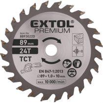 EXTOL körfűrészlap, keményfém lapkás, 89mm, 24T a 8893022 mini körfűrészhez, fára és farostlemezre