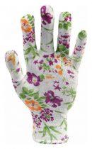 Flo Kertészkesztyű fehér virágmintával 8-as