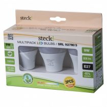 Steck multipack(3 db) LED fényforrás, 9W, E27, meleg fehér |SRL 927M/3|