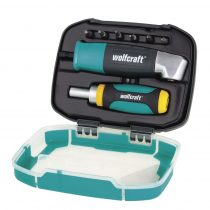 Wolfcraft Fiókcsavarozó készlet dobozban (derékszögű csavarbehajtó, mini racsnis csavarozó, 6 csavarbit)
