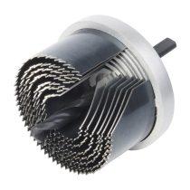 Wolfcraft 2160000 Standard körkivágó/lyukfűrész készlet, 7 méret, fém házas, 25–62 /33 mély