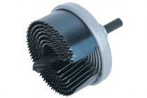 Wolfcraft Standard körkivágó/lyukfűrész készlet, 7 méret, fém házas, 25–62 / 23 mély